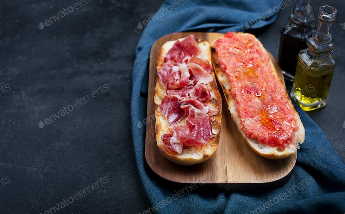Spanish tomato and ham toast, traditional breakfast or lunch