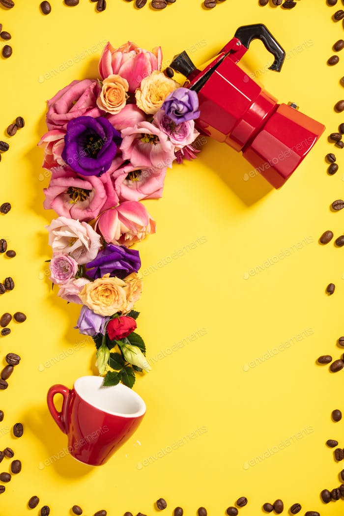 Morning coffee concept. Coffee maker, coffee cup and flowers.