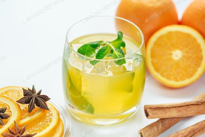 Juice from fresh oranges and spices