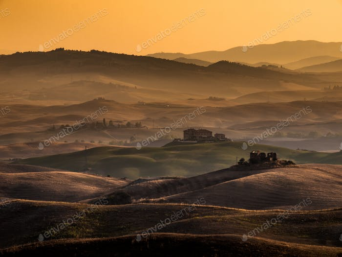 Tuscany Sunrise over Farms in the Hills