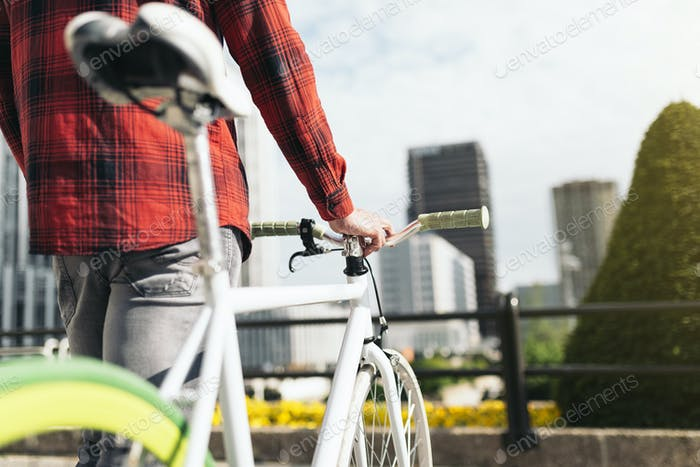 Young man on bike in the city