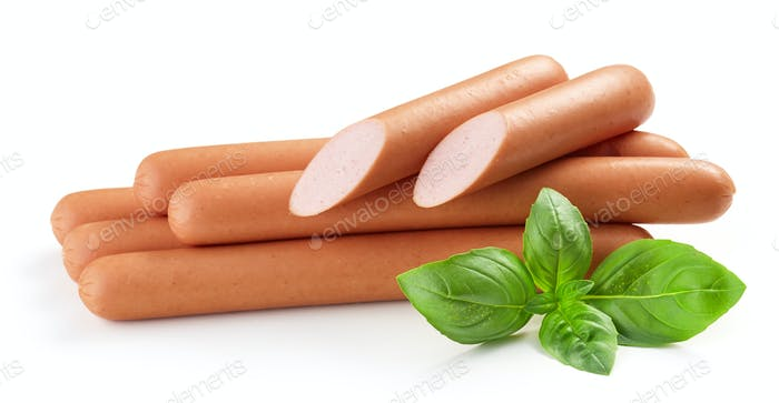 fresh boiled sausages