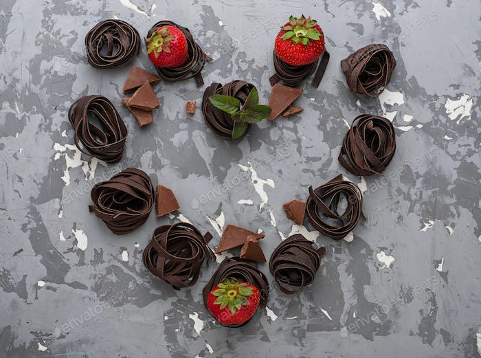 Chocolate pasta and strawberry in shape of heart