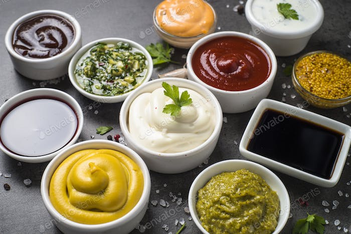 Sauce set assortment - mayonnaise, mustard, ketchup and others