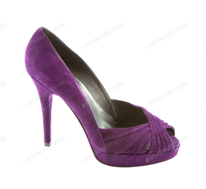 Purple suede peep toe stiletto