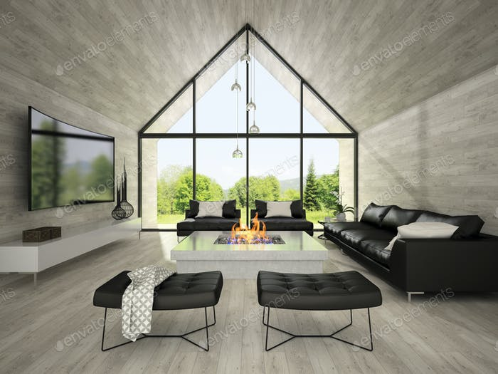 Interior of modern design living room 3D rendering 2