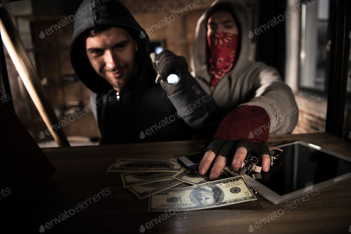 Two robbers stealing money and valuables, house robbery scene