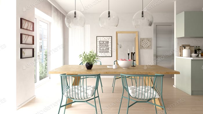 Interior of dining room scandinavian style 3D rendering