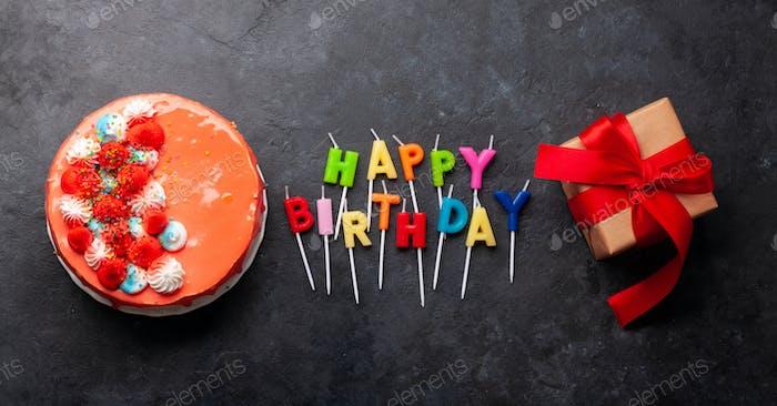 Birthday cake and happy birthday candles