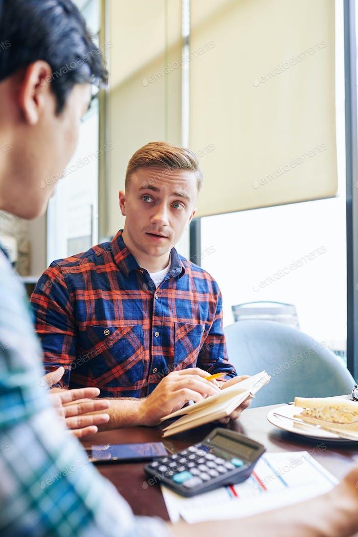 Businessmen discussing collabotation
