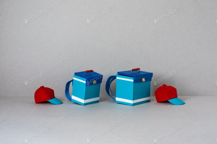 Delivery accessory kit. Bags and red-turquoise baseball caps with a simplified design for couriers