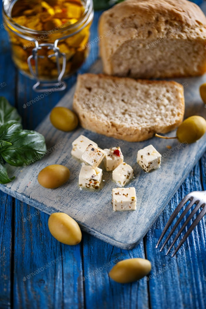 Cubed feta cheese