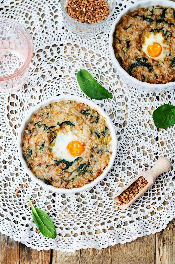 buckwheat spinach cheese egg casserole