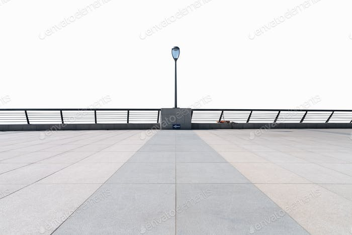 empty floor and railings isolated on white with clipping path