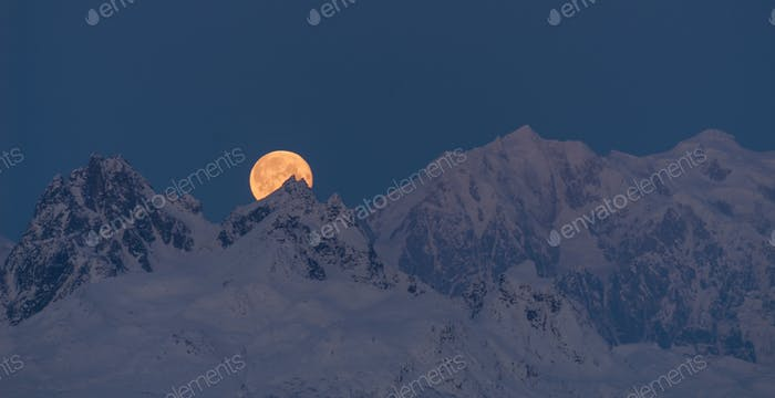 Moonrise Mount McKinley Alaska Denali National Park