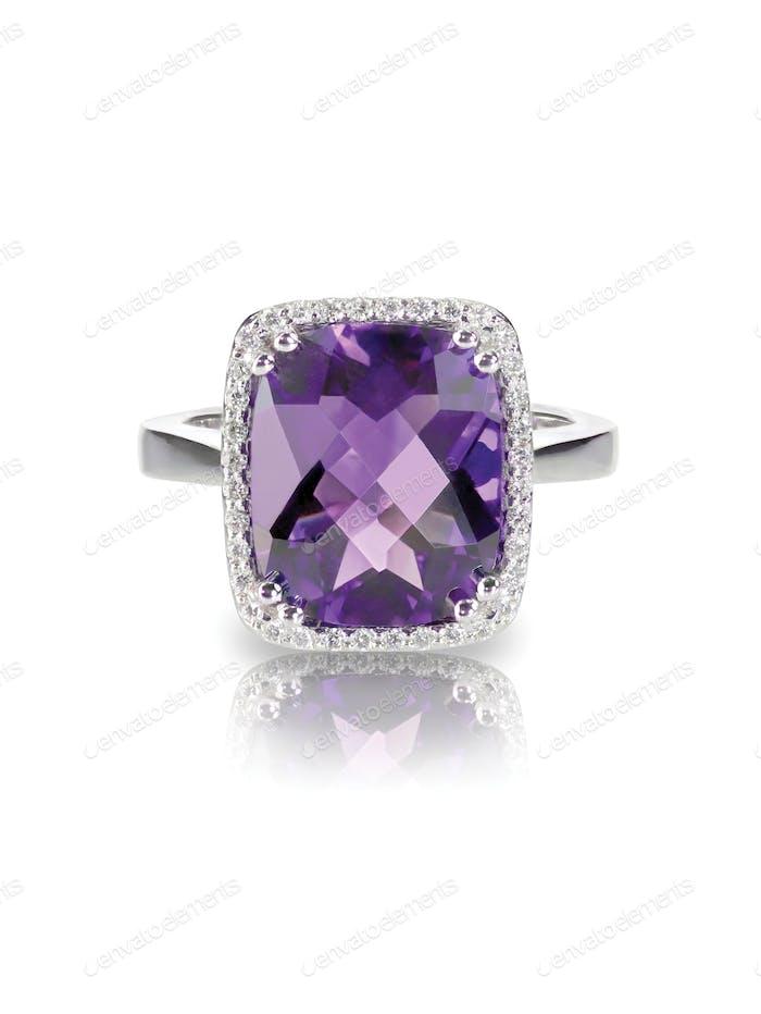 Large purple amethyst cushion cut diamond halo fashion cocktail or engagement wedding bridal ring.