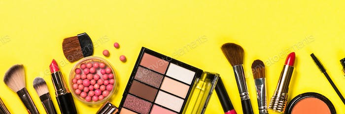 Makeup professional cosmetics on color background