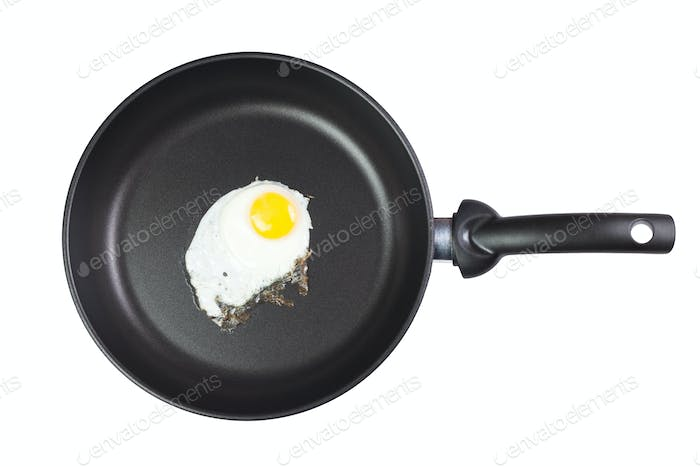 Fried Egg In A Frying Pan Isolated Over White