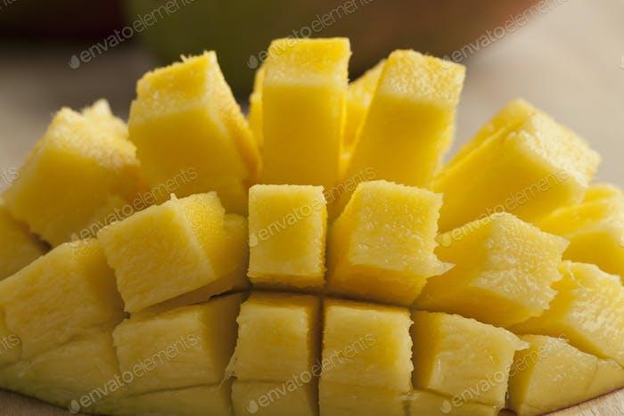 Fresh cut yellow mango