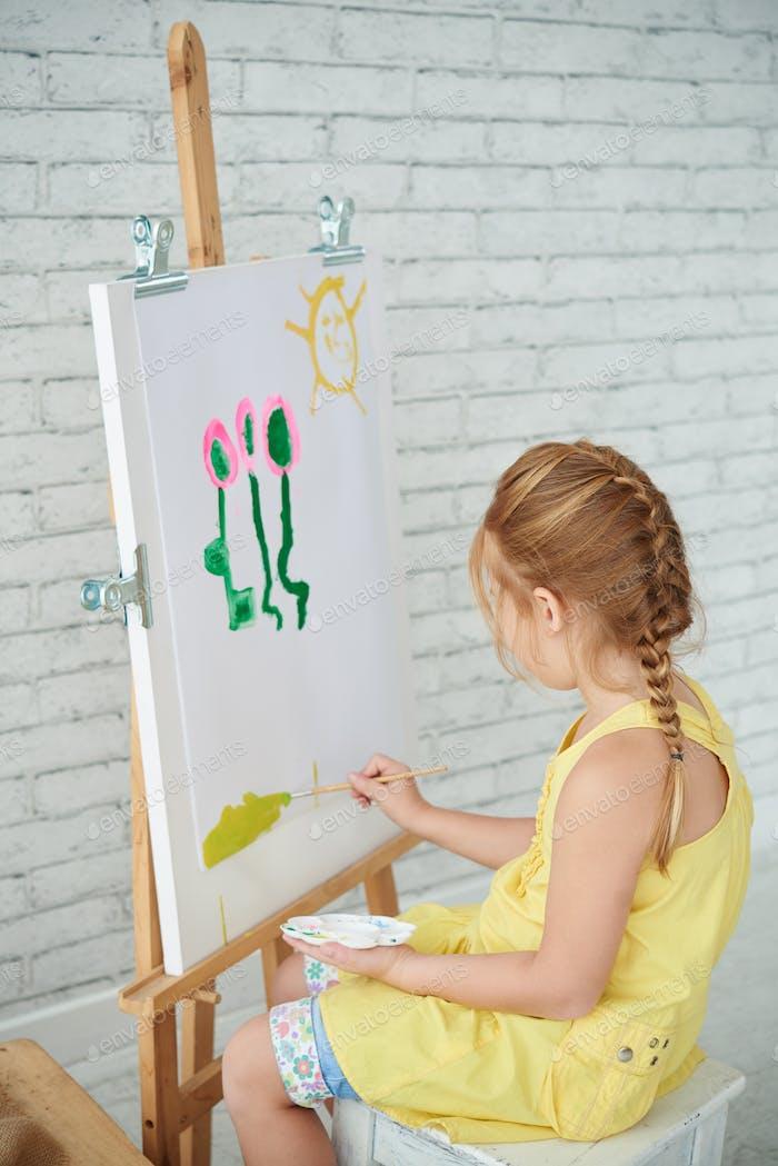 Painting in kindergarten