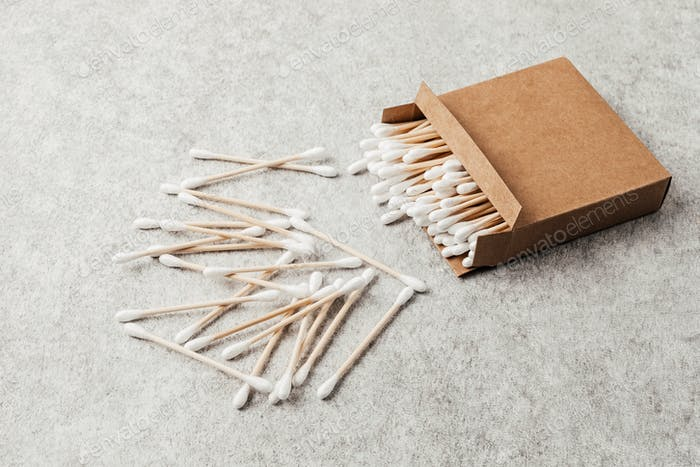 Bamboo cotton buds in carton box. Ethical, sustainable, no plastic lifestyle