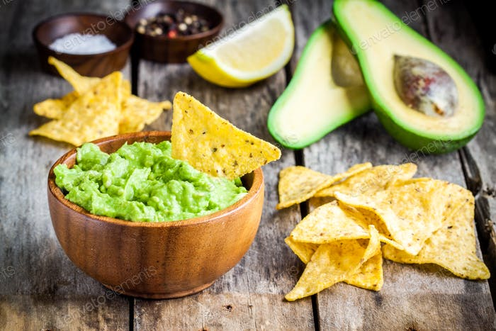 homemade guacamole with corn chips