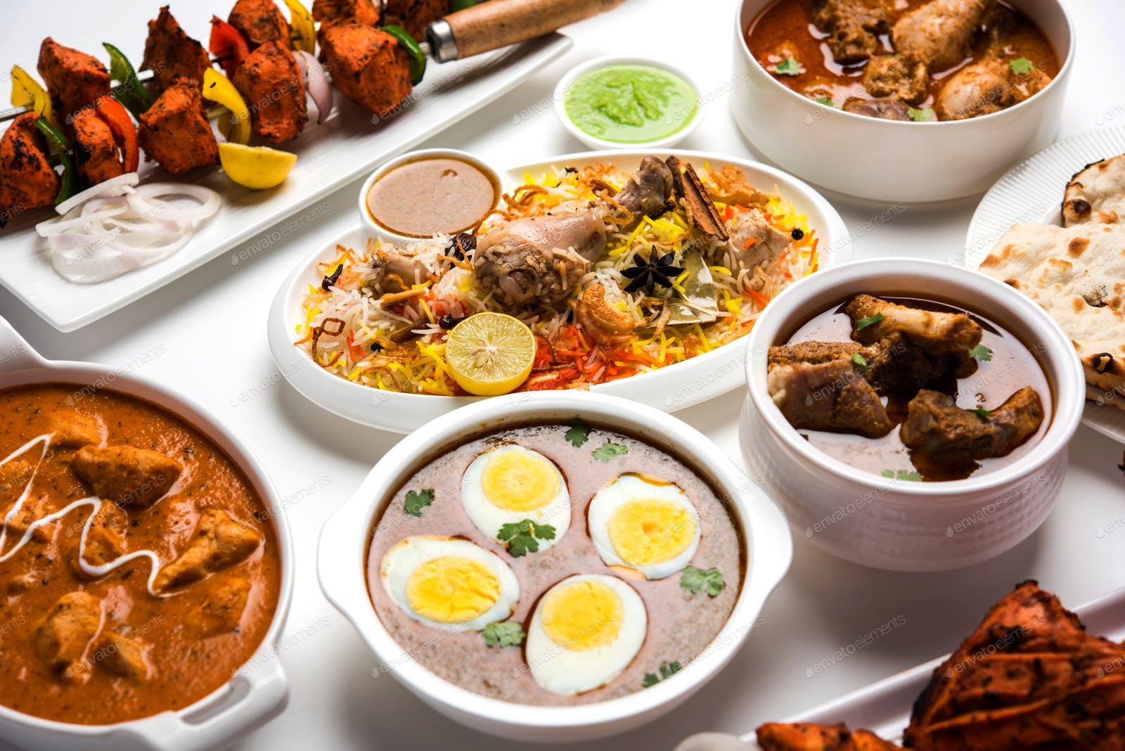 Group Of Assorted Indian Non Vegetarian Food Recipes Photo By Stockimagefactory On Envato Elements