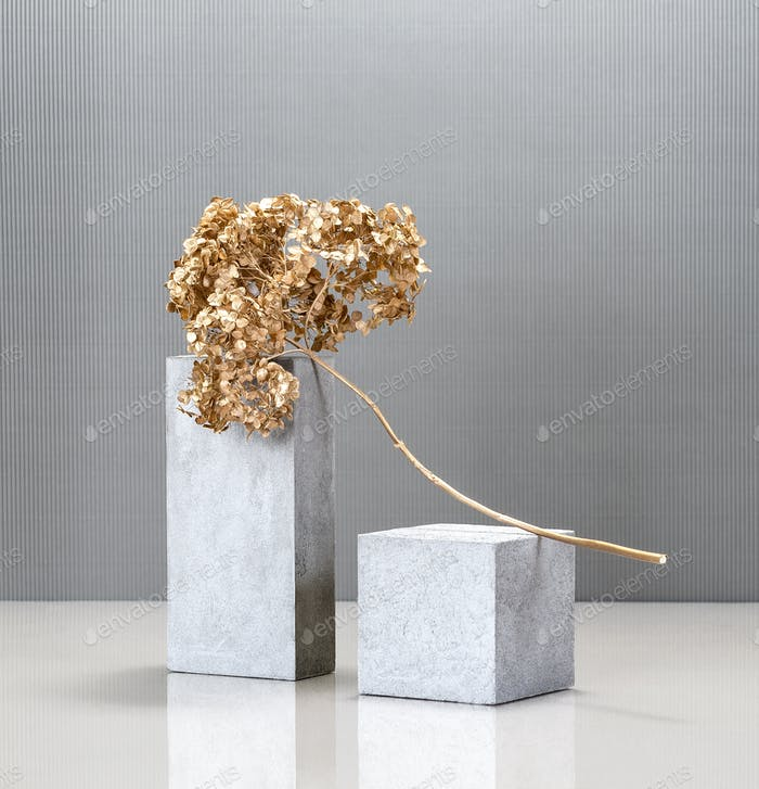 Creative minimalism still life with the use of concrete blocks a