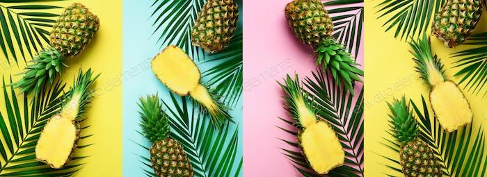 Ananas, Palmblätter auf Pastell bunt gelb, rosa, türkis Hintergrund mit Kopierraum
