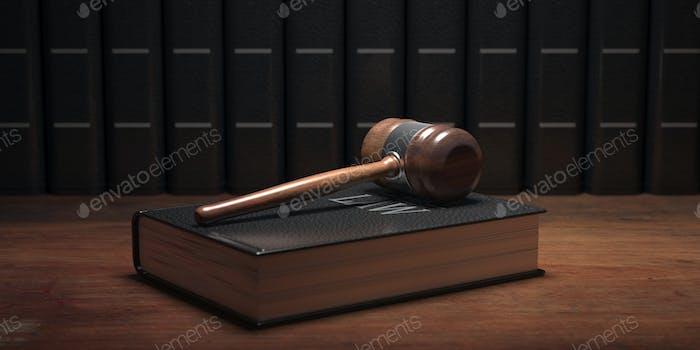 Судья молоток и закон книга, офисный стол фон. 3D иллюстрация