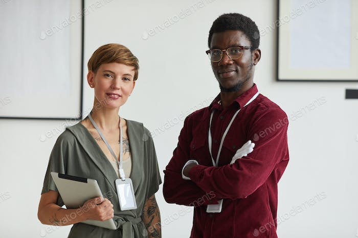 Portrait of Two Workers in Art Gallery