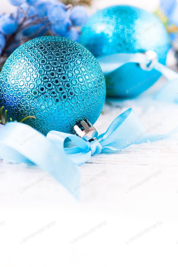 Christmas blue decorations on white. Christmas background