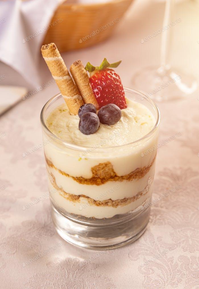 Tiramisu dessert served in a glass