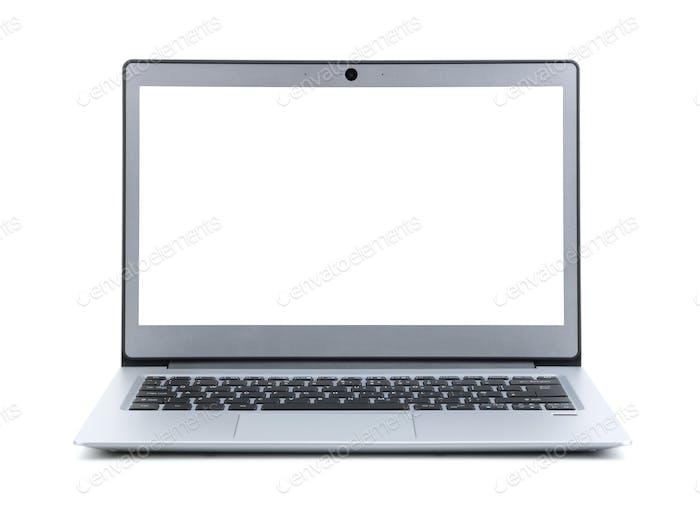 Laptop mit leerem Bildschirm isoliert auf weißem Hintergrund