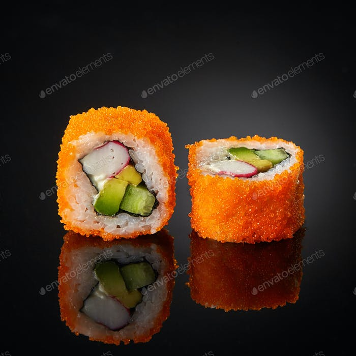 sushi with cucumber and crab sticks