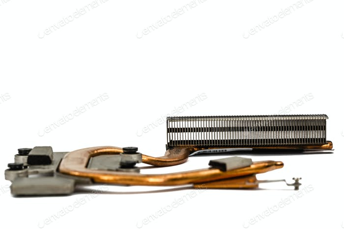 Cooling system of computer processor, isolated on white backgrou
