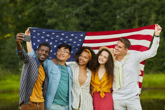 Friends Taking Selfie Photo at Independence Day Party