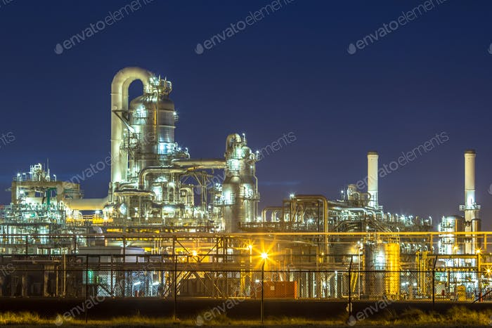 Illuminated petrochemical industry in the dark