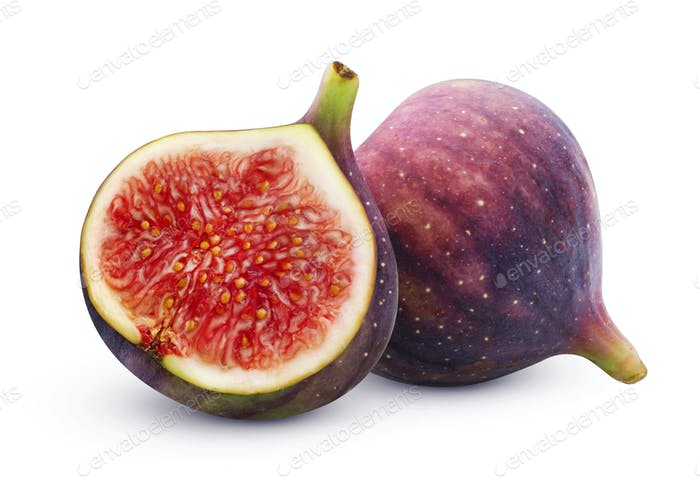 Fresh figs isolated on white background with clipping path