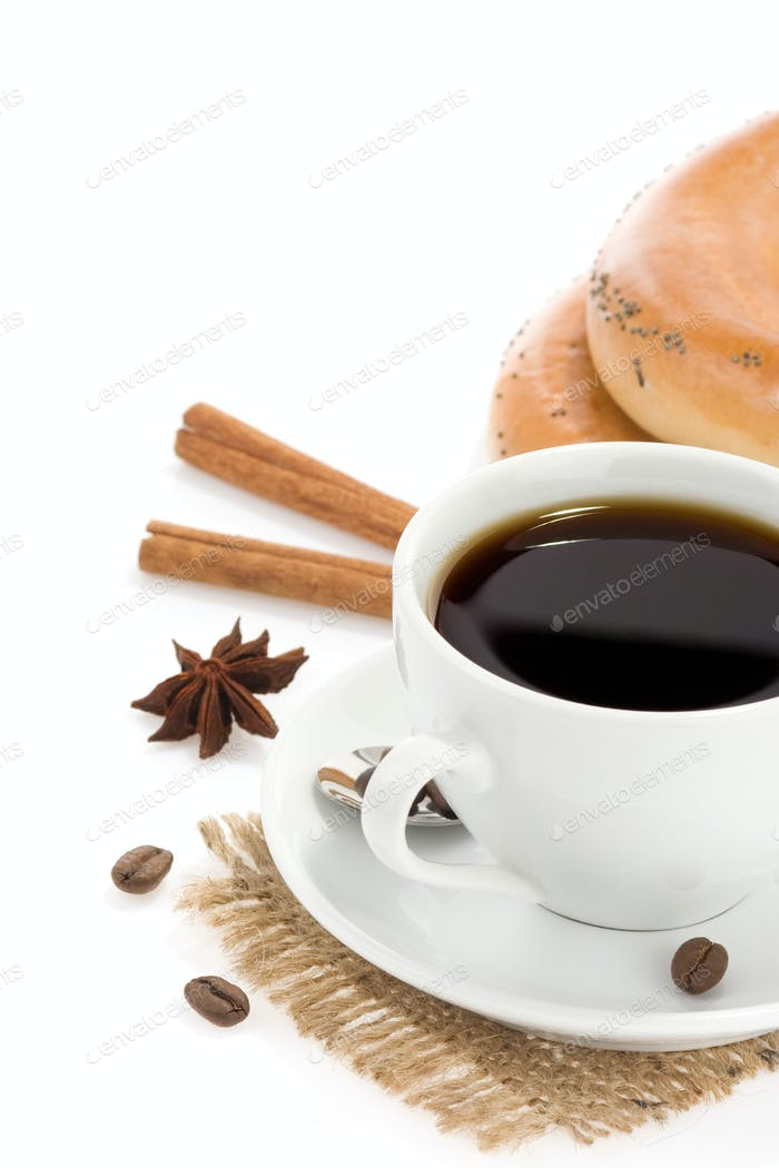cup of coffee with sweets on white