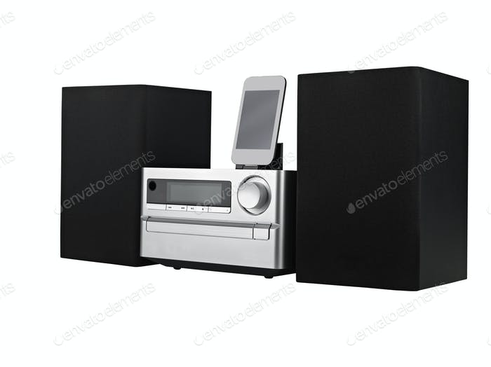 цифровой USB, CD плеер и mp3 на белом фоне