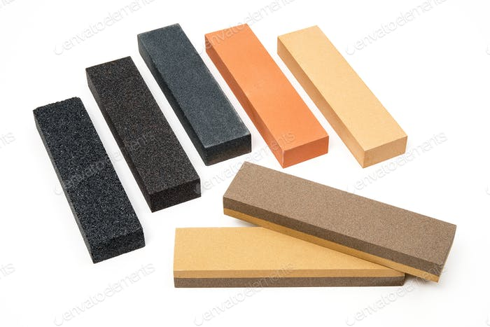 Sharpening stones sets on white background