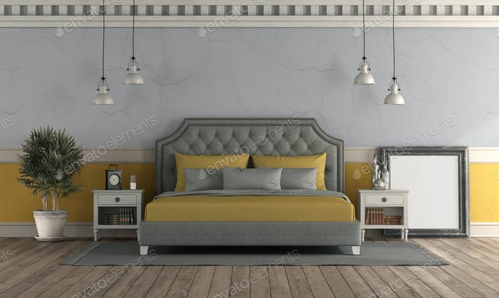 Gray and yellow master bedroom in retro style