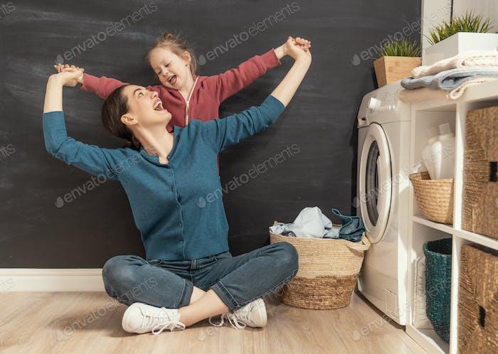 family doing laundry