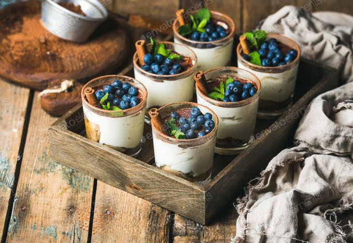 Homemade Tiramisu dessert in glasses with cinnamon, mint and blueberry