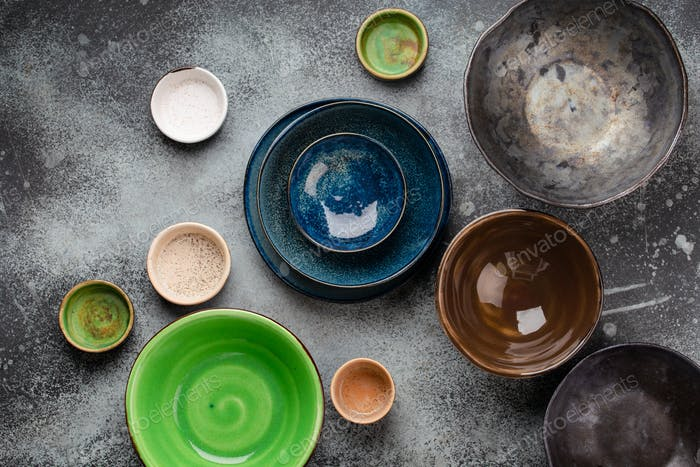 Empty plates and bowls