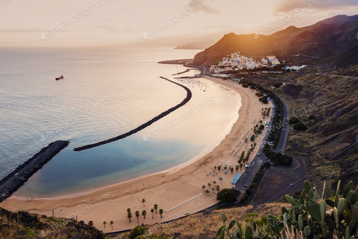 Playa de Las Teresitas on Tenerife at sunset
