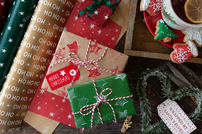 Cheerfully wrapped Christmas presents