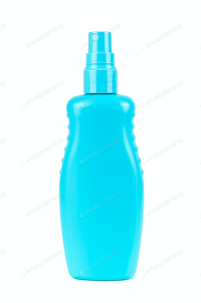 Blank blue cosmetic bottle with atomizer