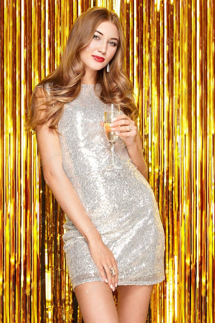 Beautiful Woman celebrating New Year